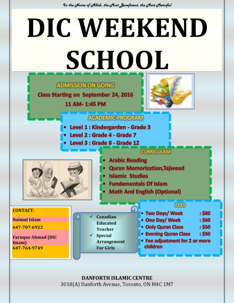 DIC WEEKEND SCHOOL | Danforth Islamic Centre